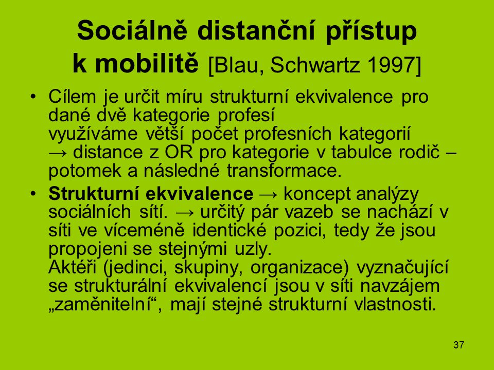 Sociálně distanční přístup k mobilitě [Blau, Schwartz 1997]